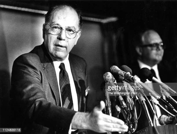 Political activist Lyndon La Rouche speaks at a press conference at the National Press Club in Washington DC on May 5 1988