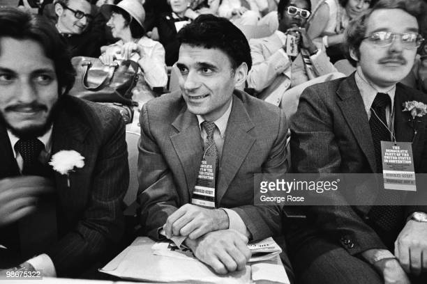 Political activist Ralph Nader is seated as a spectator during the 1976 New York New York Democratic National Convention at Madison Square Gardens
