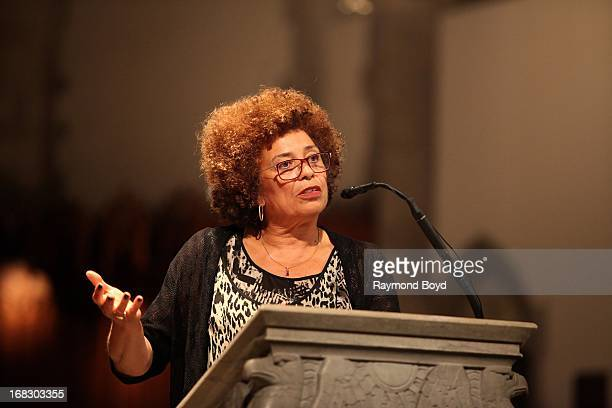 Political activist scholar and author Angela Davis speaks at the University Of Chicago's Rockefeller Chapel in Chicago Illinois on MAY 03 2013