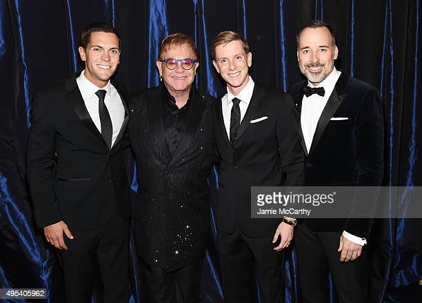Political activist Sean Eldridge Sir Elton John entrepreneur Chris Hughes and filmmaker David Furnish attend Elton John AIDS Foundation's 14th Annual...