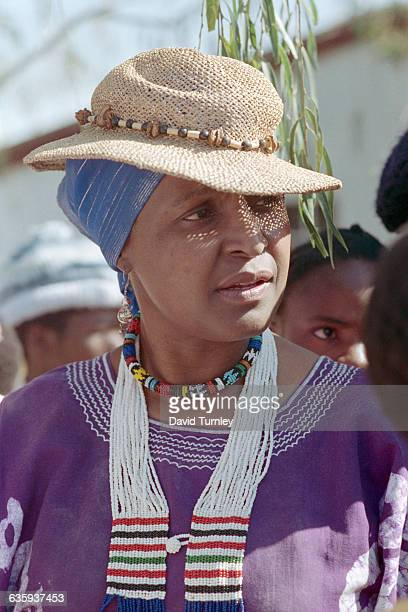 Political activist Winnie Mandela participates in a march through Brandfort Township from which she was banished for eight years