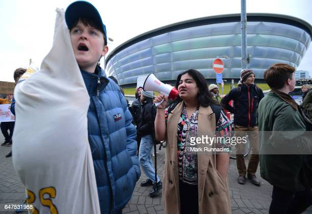 Political activists protest outside the Scottish Conservatives Spring Conference at the Scottish Events Campus , on March 3 2017 in Glasgow,...