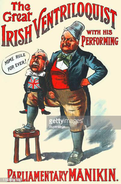 Political advertisement opposes Irish Home Role under the text 'The Great Irish Ventriloquist with his Performing Parliamentary Manikin' 1907 It...
