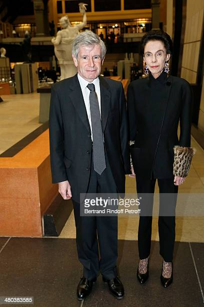 Political advisor and businessman Alain Minc and his wife attend the dinner party of the Societe Des Amis Du Musee D'Orsay at Musee d'Orsay on March...