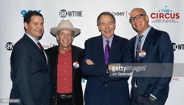 Political analyst Mark Halperin political advisor Mark McKinnon journalist/TV host Charlie Rose and journalist John Heilemann attend the 'The Circus...