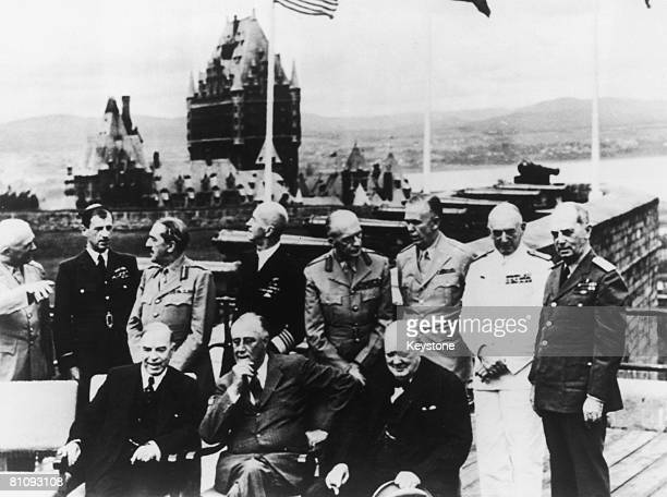 Political and military leaders pose on a terrace of the Citadelle during the Quebec Conference of World War II 18th August 1943 The Chateau Frontenac...