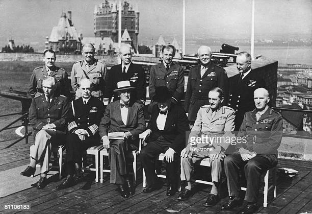 Political and military leaders pose on a terrace of the Citadelle during the Second Quebec Conference of World War II 16th September 1944 The Chateau...