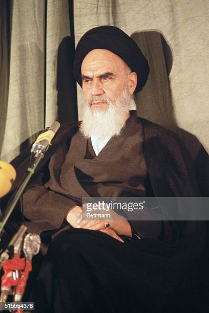 Political and religious leader Ayatollah Khomeini during a press conference.