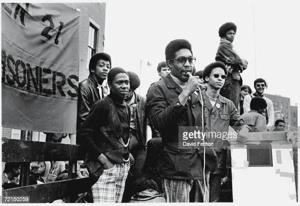 Political and social activist and Black Panther member Dhoruba Bin Wahad speaks at a rally in support of the Panther 21 New York New York April 4...