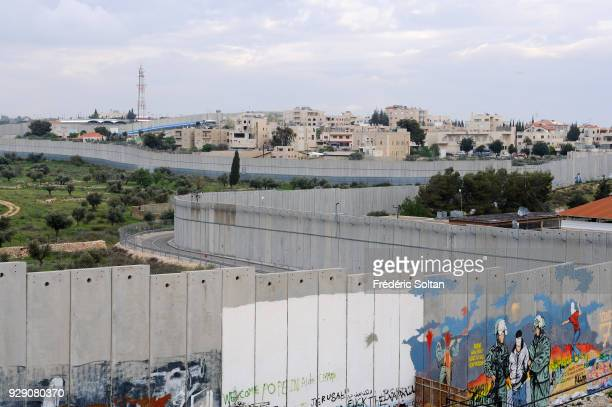 Political and social mural painting and graffitis illustrating the free Palestine and general view on the Israeli West Bank barrier in Bethlehem on...