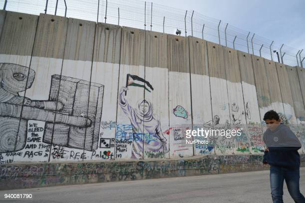 Political and social mural paintings and graffitis on the Israeli West Bank barrier in Bethlehem Tuesday 13 March 2018 in Bethlehem Palestine