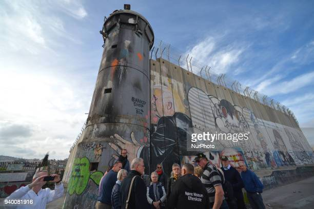 Political and social mural paintings and graffitis on the Israeli West Bank barrier in Bethlehem. Tuesday, 13 March 2018, in Bethlehem, Palestine.