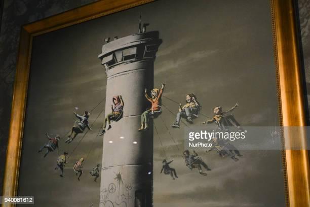 Political and social mural paintings inside Banksy Hotel on Israeli West Bank barrier in Bethlehem. Tuesday, 13 March 2018, in Bethlehem, Palestine.