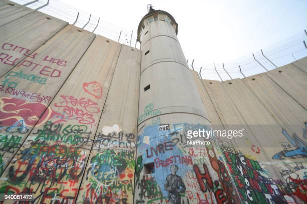 Political and social mural paintings on Israeli West Bank barrier in Bethlehem. Tuesday, 13 March 2018, in Bethlehem, Palestine.