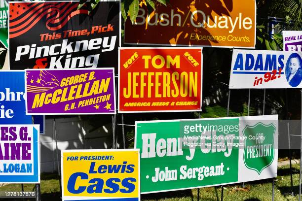 """Political art installed on a front lawn in Orange, California on October 2, 2020. The display titled, """"u201cmonument to the unelected """"u201c,..."""