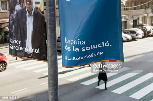 Political banners seen on Badalona's street on Election Day on December 21 2017 in Badalona Spain Catalan voters are heading to the polls today to...