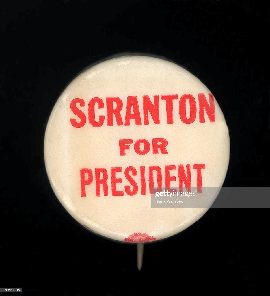Political Campaign Button That Advocates Republican Candidate William Scranton For President In The 1964 US Presidential
