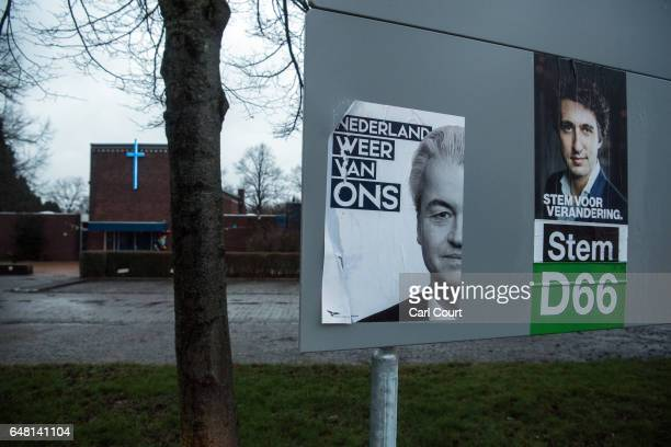A political campaign poster for the farright Party for Freedom is displayed on a signboard on February 23 2017 in Delfzijl Netherlands The Dutch will...