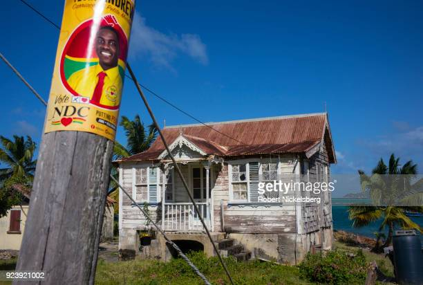 WINDWARD CARRIACOU GRENADA FEBRUARY 6 A political campaign poster is secured to a post announcing the local National Democratic Congress candidate...