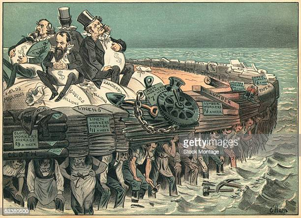 A political cartoon aimed at wealth businessman Cyrus Field Jay Gould Cornelius Vanderbilt and Russell Sage 1883 Laborers awash in a sea of hard...