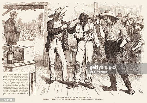 Political cartoon by B Frast shows two white men as they point guns at the head of a black voter accompanied by the text 'Of course he wants to vote...