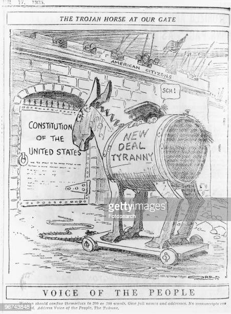 Political cartoon by Carey Orr with the caption 'The Trojan Horse At Our Gate' for the Voice Of The People depicting the Trojan Horse labeled 'New...