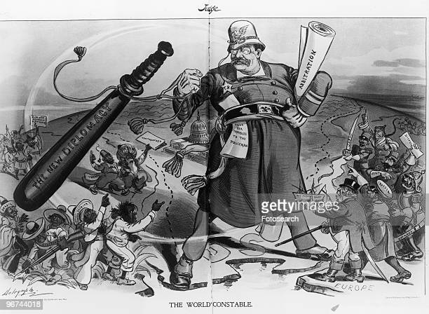 Political cartoon by Louis Dalrymple depicting Theodore Roosevelt as 'The World's Constable' standing between Europe and Latin America with a...