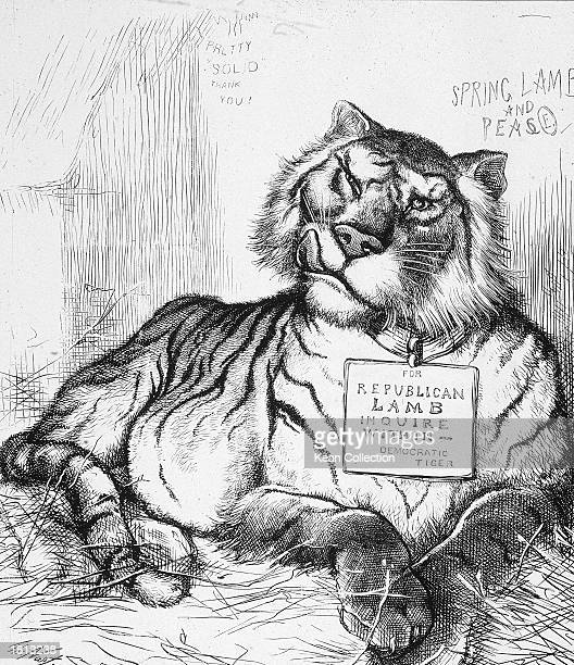 Political cartoon by Thomas Nast concerning the power of the Tammany Democrats which shows a tiger licking his chops while wearing a sign that reads...