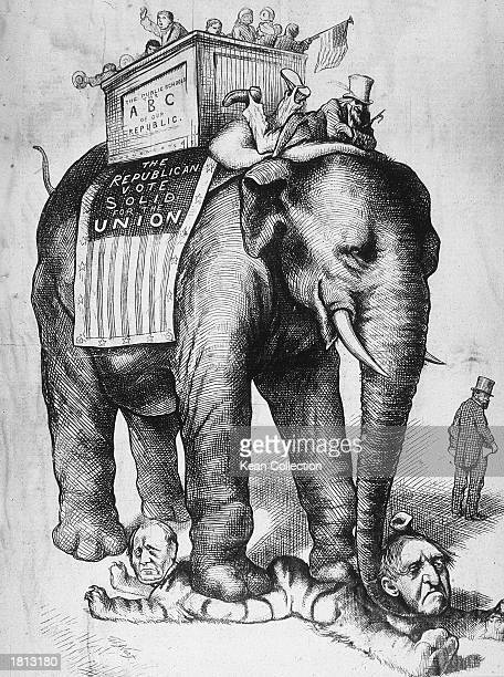 Political cartoon by Thomas Nast depicting the Republican vote represented by Uncle Sam riding an elephant walking over the Democratic Tiger 1876