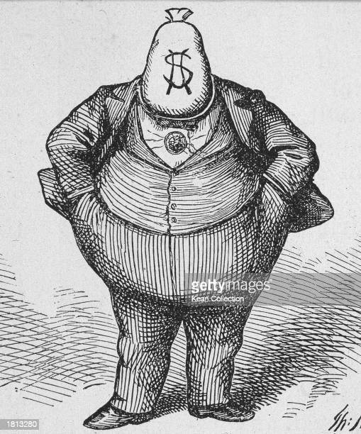 Political cartoon by Thomas Nast depicting William Marcy 'Boss' Tweed with a money bag for a head entitled 'The brains that achieved the Tammany...