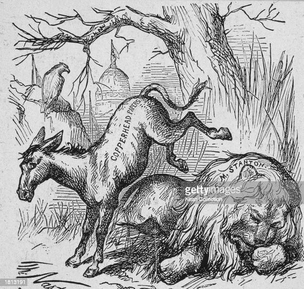 Political cartoon by Thomas Nast entitled 'Live JackAss Kicking a Dead Lion' which lampooned the Democratic President's abuse of former Secretary of...