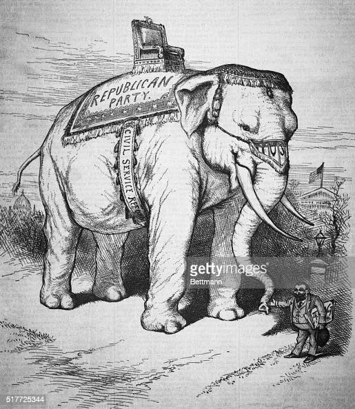 Political Cartoon By Thomas Nast Of The Republican Party Symbol