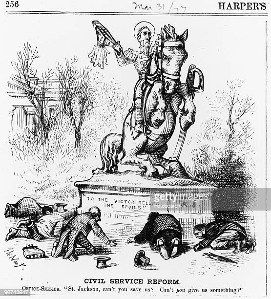 Political cartoon by Thomas Nast with the caption ' can't you save us Can't you give us something' The cartoon taken from Harper's magazine depicts...