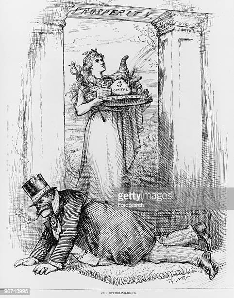 Political cartoon by Thomas Nast with the caption Our StumblingBlock' with a female figure labeled 'Business' 'Workshop' 'Cotton' 'Capital' and...