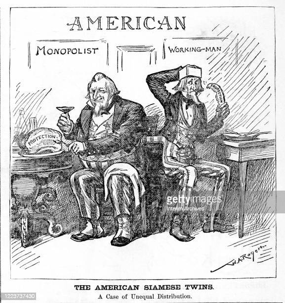 Political cartoon by WA Rogers titled 'The American Siamese Twins' depicting Uncle Sam in twin roles of Monopolist and Working Man 1888 The caption...
