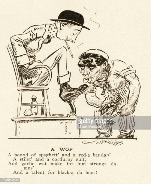 A political cartoon commenting on Italian immigrants in the United States 1911 Original caption A Wop The illustration shows a caricature of a recent...