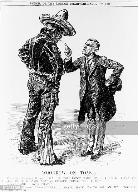 A political cartoon comparing Woodrow Wilson's actions against the Mexicans to the European treatment of the Turks