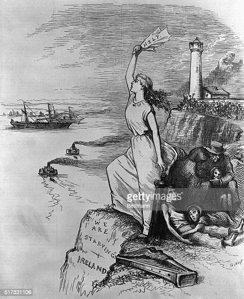 Political cartoon concerning the Irish Famine It shows The Herald of Relief from America a woman standing on the shore holding a paper with the word...