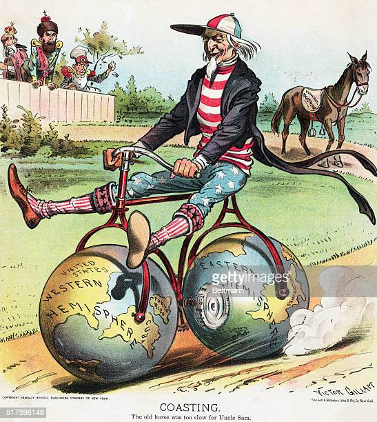 """Political cartoon criticizing American foreign policy, with the title """"COASTING,"""" and the original caption """"The old horse is too slow for Uncle Sam.""""..."""
