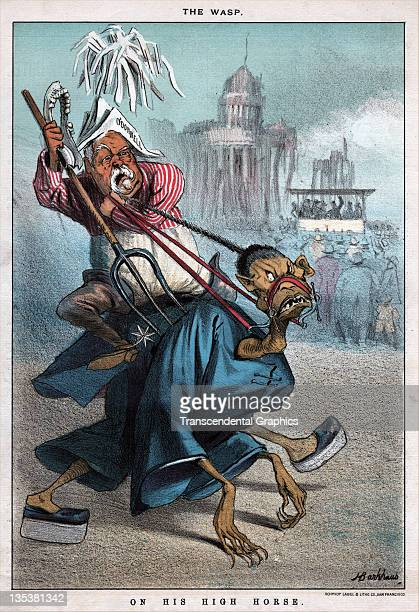 A political cartoon denigrates both a cruel coastal politician o'Donnell and the chinese who he persecuted printed on August 29 1885 in San Francisco...