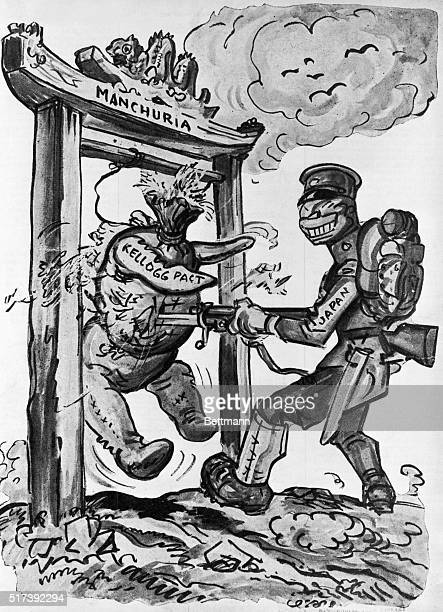 Political cartoon depicting a Japanese soldier bayonetting a 'Kellogg Pact' dummy hanging in the doorway to Manchuria Illustration 1931