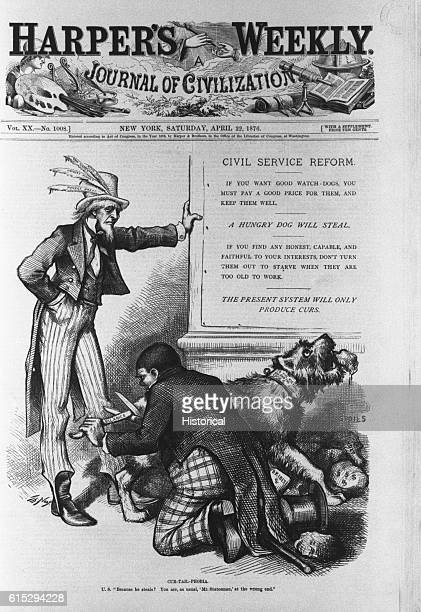 A political cartoon depicting a statesman attempting to cut the tail off a dog as a symbol of cutting salaries as a way of reforming the Civil...