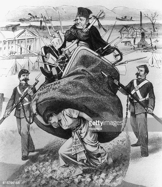 A political cartoon depicting a woman as the South being crushed under the wieght of the carpetbagger who is protected by military support on...
