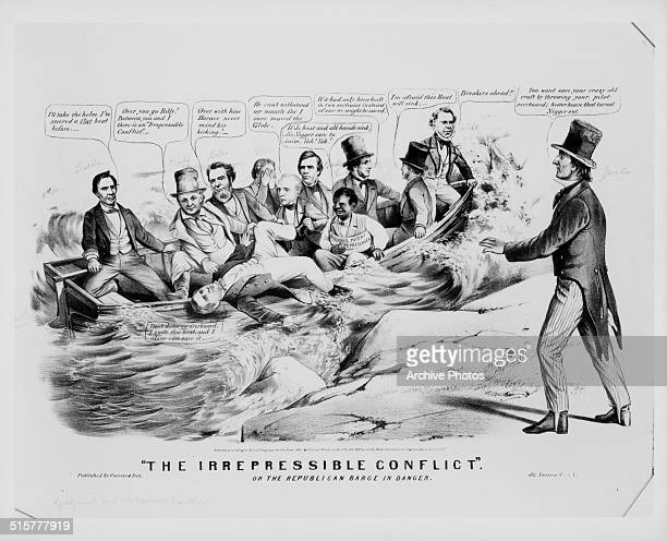 Political cartoon depicting Abraham Lincoln and his opponents in a sinking boat representing 'The Irrepressible Conflict' and the fight to end...