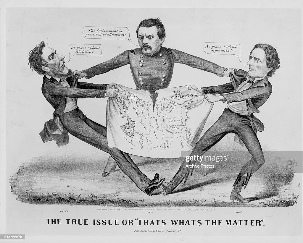 Political Cartoon Depicting Abraham Lincoln And Jefferson Davis