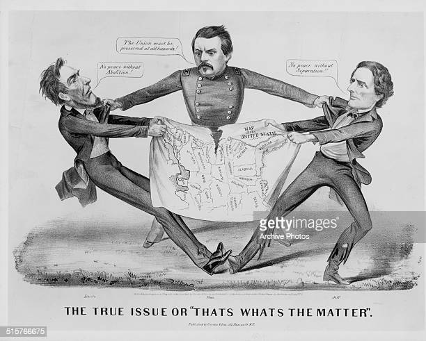 Political cartoon depicting Abraham Lincoln and Jefferson Davis fighting over a map of the United States with George B McClellan trying to stop them...