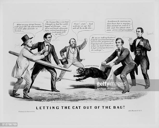 Political cartoon depicting Abraham Lincoln attempting to stop the 'spirit of discord' cat getting out of the bag circa 1864