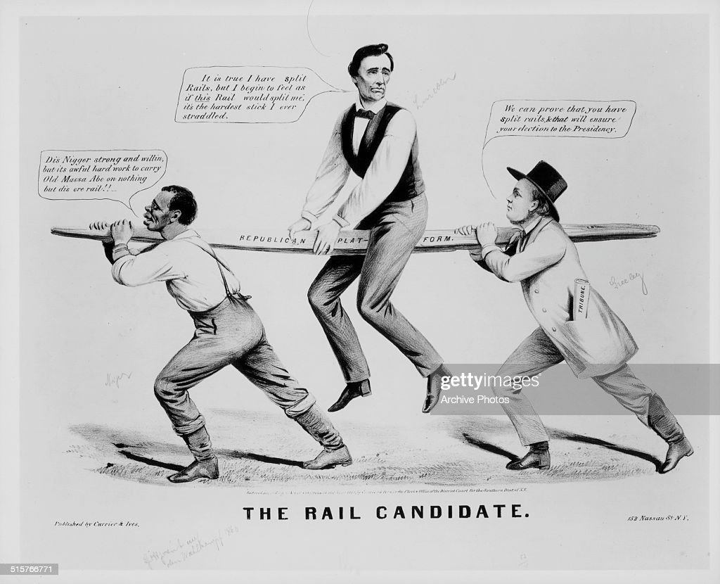 Political Cartoon Depicting Abraham Lincoln Being Carried On A