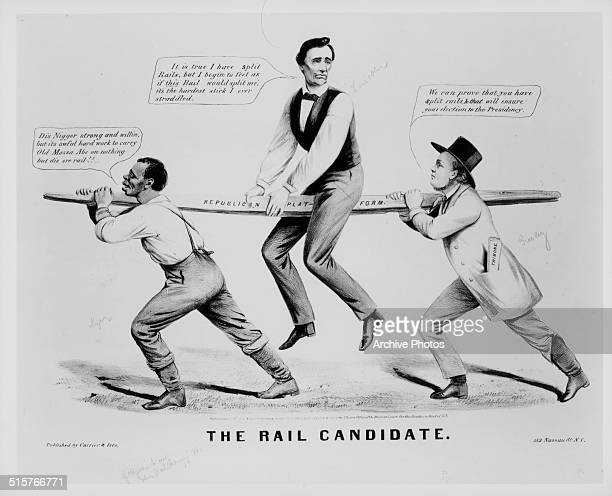Political cartoon depicting Abraham Lincoln being carried on a 'Republican Platform' by a white man and a black man entitled 'The Rail Candidate'...