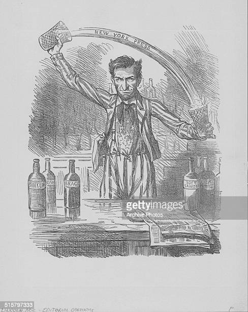 Political cartoon depicting Abraham Lincoln pouring liquid from a 'victory' to a 'defeat' glass as part of the US presidential campaign of 1864